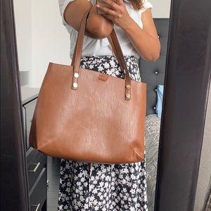Calvin Klein leather tote bag - saddle brown